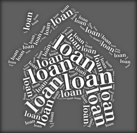 Tag or word cloud loan related in shape of house photo