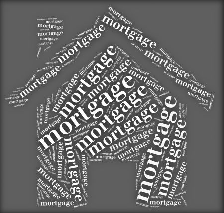 Tag or word cloud mortgage related in shape of house Stock Photo