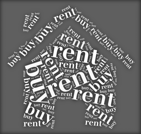 Tag or word cloud buy or rent dilemma related in shape of house photo