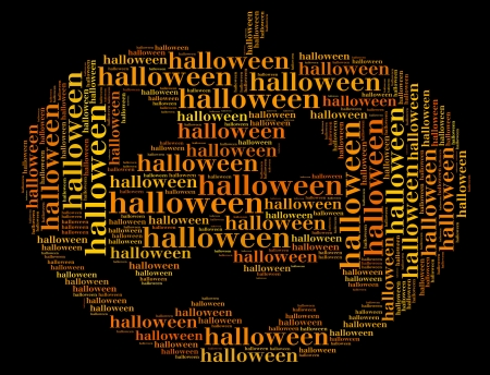 Tag or word cloud halloween related in shape of carved pumpkin photo