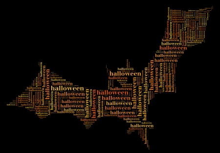 Tag or word cloud halloween related in shape of bat photo