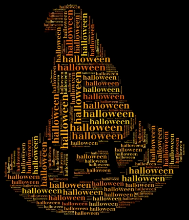 Tag or word cloud halloween related in shape of witch hat photo