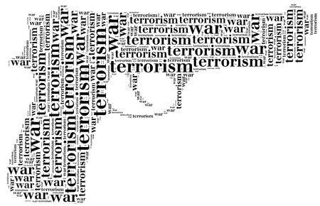 Tag or word cloud war or terrorism related in shape of pistol or gun Stock Photo - 22297993