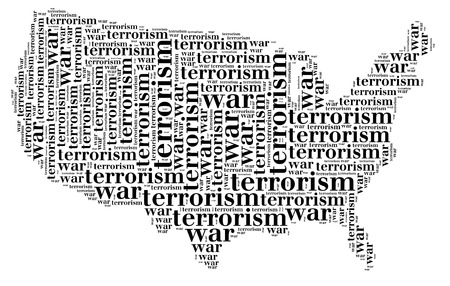 Tag or word cloud war or terrorism related in shape of USA silhouette Stock Photo - 22298028