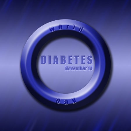 a disease carrier: Graphic design World Diabetes Day related in shape of blue circle, diabetes symbol. Stock Photo