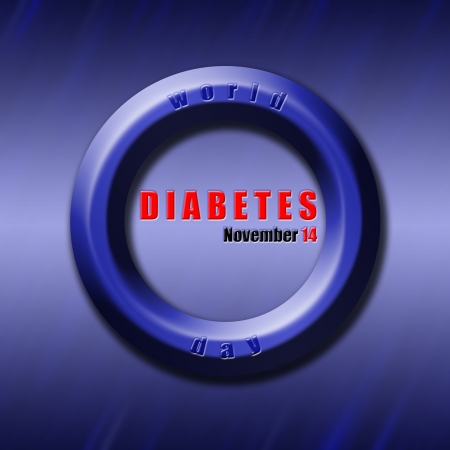 Graphic design World Diabetes Day related in shape of blue circle, diabetes symbol. photo