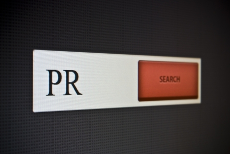 Internet search bar with phrase PR or public relations photo