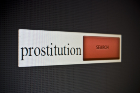 Internet search bar with phrase prostitution