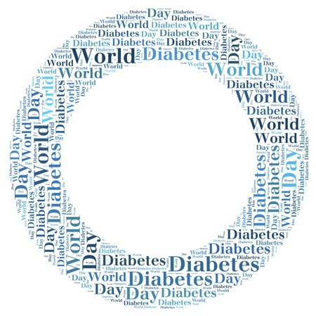 sick day: Tag or word cloud World Diabetes Day related in shape of blue circle