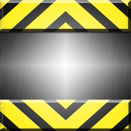 barrier free: Grey and yellow striped metal background or texture with empty space for text