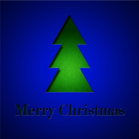 Blue minimalist modern Christmas greeting card with green tree photo