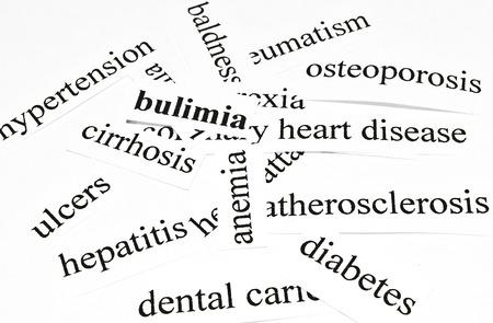 ulceras: Bulimia concepto de cuidado de la salud de las enfermedades causadas por una nutrici�n saludable