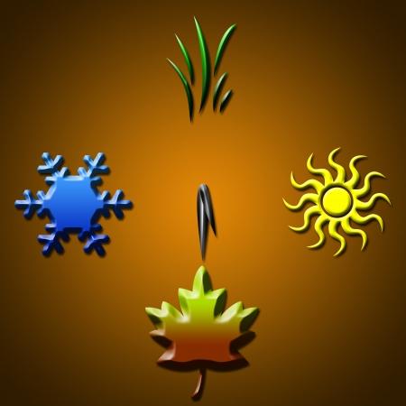 Autumn  Four seasons concept in shape of clock photo