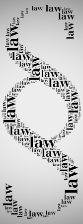 dura: Tag or word cloud law related in shape of paragraph