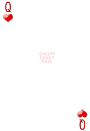 Queen of hearts blank gambling card with empty space for photo photo