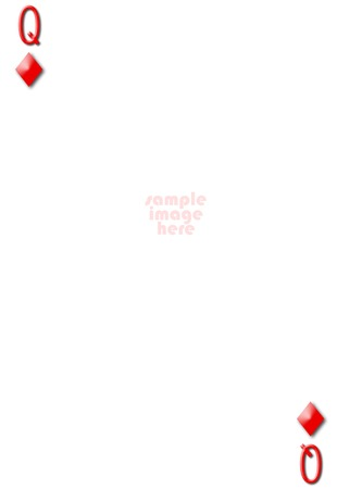 Queen of diamonds blank gambling card with empty space for photo photo