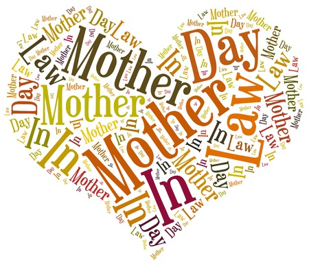 Tag or word cloud Mother In Law day related in shape of heart Stock Photo