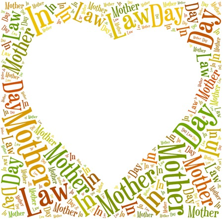 text free space: Tag or word cloud Mother In Law day related in shape of heart frame with empty space for text or photo Stock Photo