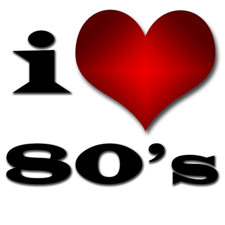 Ik hou van 80 s Grappig concept van het hart en de inscriptie of tekst