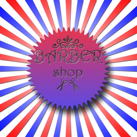 Barber shop badge against sunburst in classic colors red, blue and white Stock Photo - 23173599