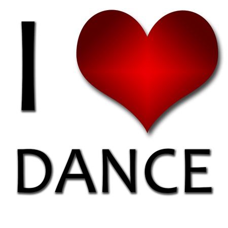 i like: I love dance  Funny concept of heart and inscription or text Stock Photo