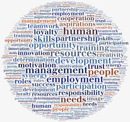 Tag or word cloud human resources related in shape of circle