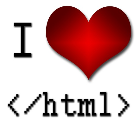 I love html  Funny concept of heart and inscription or text photo