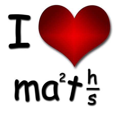 i like my school: I love maths  Funny concept of heart and inscription or text