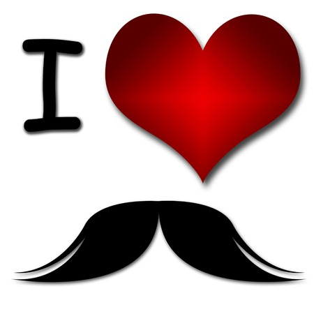 I love mustache  Funny concept of heart and inscription or text photo