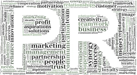 pr: Tag or word cloud public relations related in shape of PR