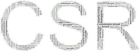 Tag or word cloud corporate social responsibility related in shape of CSR photo