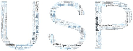 Tag or word cloud unique selling proposition related in shape of USP