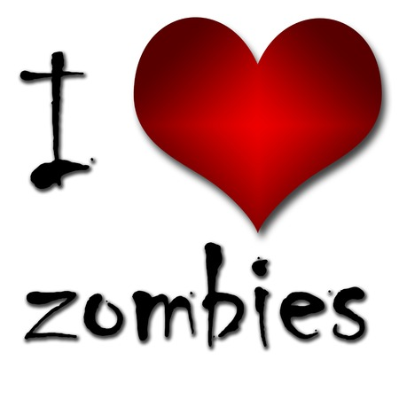 I love zombies  Funny concept of heart and inscription or text photo