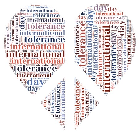 wor: Tag or wor cloud international tolerance day related in shape of heart Stock Photo