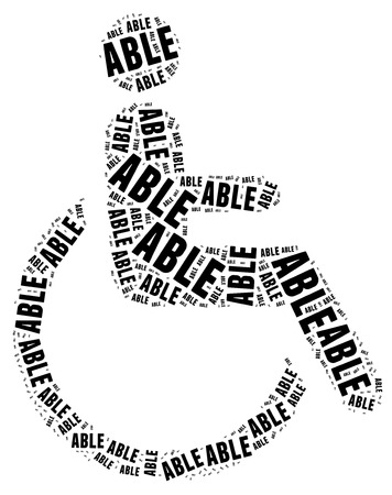 Tag or word cloud disability related in shape of human on wheelchair Stock Photo