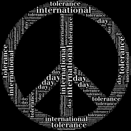 wor: Tag or wor cloud international tolerance day related in shape of peace symbol Stock Photo