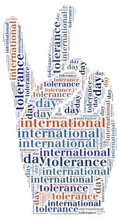 wor: Tag or wor cloud international tolerance day related in shape of peace sign Stock Photo