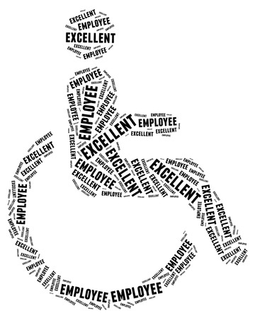 Tag or word cloud disability related in shape of human on wheelchair photo