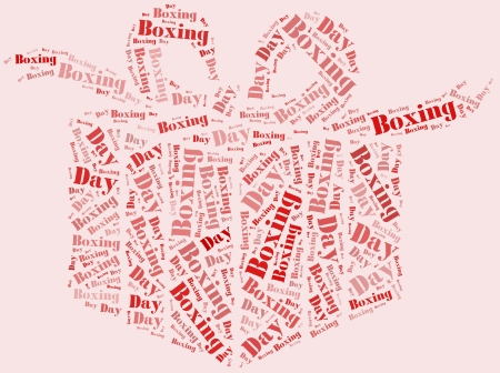 Tag or word cloud boxing day related in shape of gift box photo