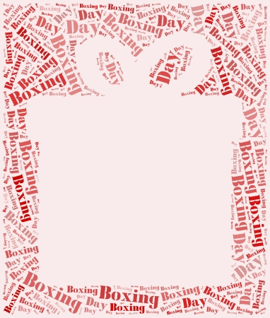 boxing day: Tag or word cloud boxing day related in shape of gift box with empty space for photo Stock Photo
