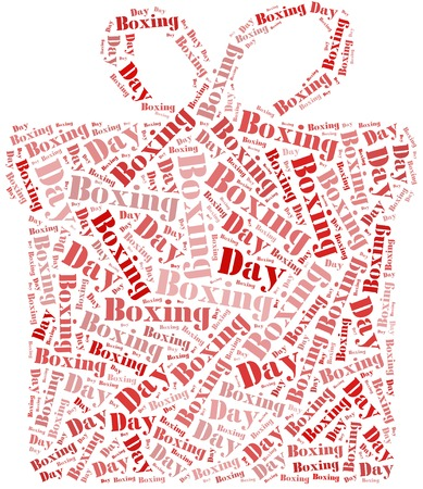 boxing day sale: Tag or word cloud boxing day related in shape of gift box