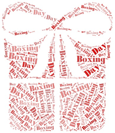 red ribbon week: Tag or word cloud boxing day related in shape of gift box