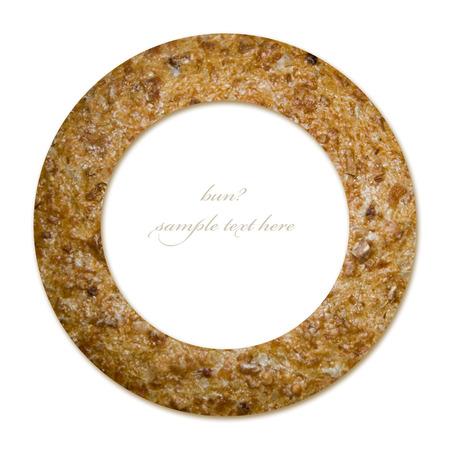 prodotti da forno: Prodotti da forno concetto di cerchio con sfondo rotolo bun e posto vuoto per il testo