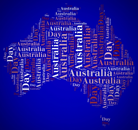 Tag or word cloud Australia Day related in shape of continent photo
