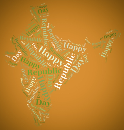 Tag or word cloud Republic Day related in shape of India photo