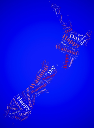 Tag or word cloud Waitangi Day related in shape of New Zealand photo