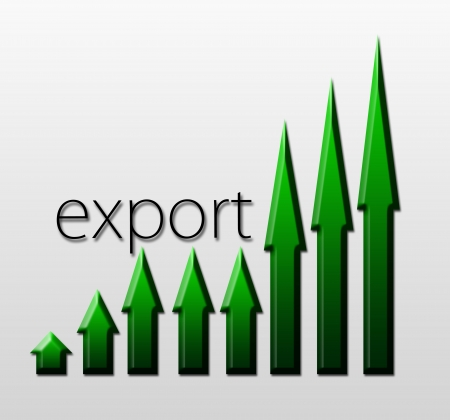 macroeconomic: Chart illustrating export trade growth, macroeconomic indicator concept
