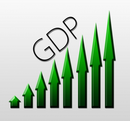 unemployment rate: Chart illustrating Gross Domestic Product growth, macroeconomic indicator concept