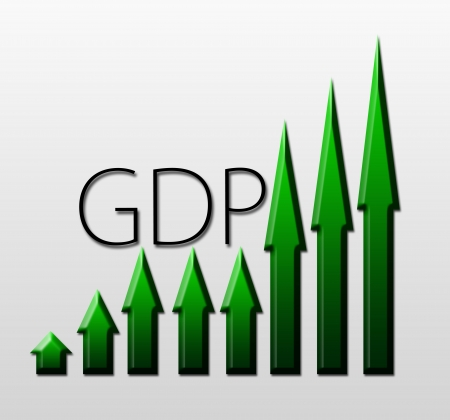 macroeconomic: Chart illustrating Gross Domestic Product growth, macroeconomic indicator concept