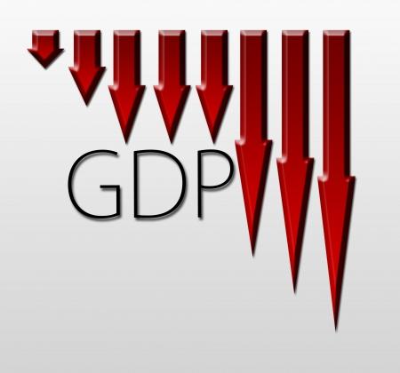 macroeconomic: Chart illustrating Gross Domestic Product drop, macroeconomic indicator concept